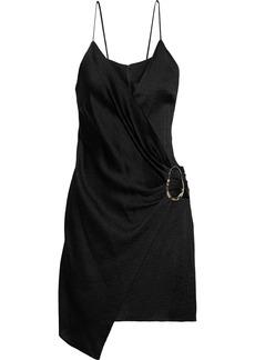 Cushnie Woman Slate Wrap-effect Pleated Textured-satin Mini Dress Black