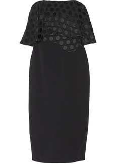 Cushnie Woman Strapless Polka-dot Fil Coupé And Stretch-cady Dress Black