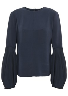 Cushnie Woman Chiffon-paneled Stretch-crepe Blouse Midnight Blue