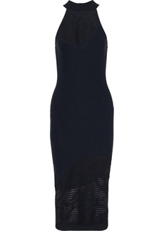 Cushnie Woman Paneled Striped Open-knit Dress Midnight Blue