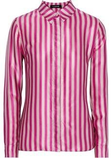 Cushnie Woman Striped Silk-satin Shirt Fuchsia