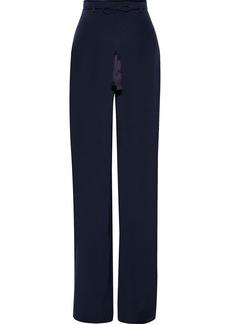 Cushnie Woman Tasseled Silk Crepe De Chine Wide-leg Pants Navy