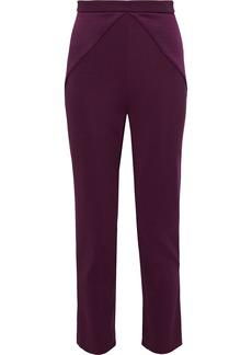 Cushnie Woman Textured Satin-paneled Stretch-knit Skinny Pants Plum