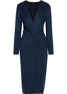 Cushnie Woman Twist-front Faux Suede Dress Navy