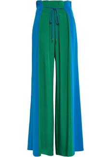 Cushnie Woman Pleated Silk Crepe De Chine Wide-leg Pants Green