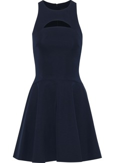 Cushnie Woman Valentina Flared Cutout Ponte Mini Dress Midnight Blue