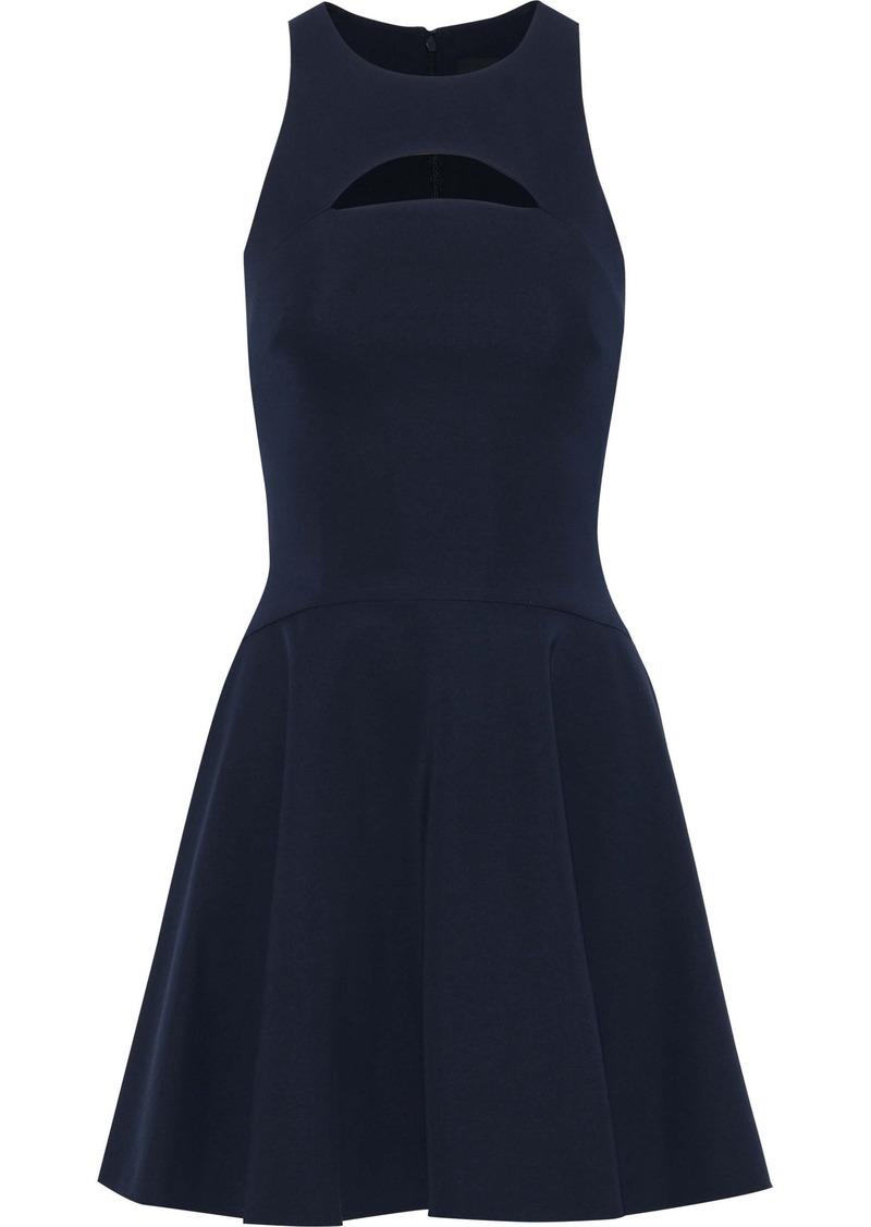 Cushnie Woman Valentina Flared Cutout Ponte Mini Dress Midnight Blue
