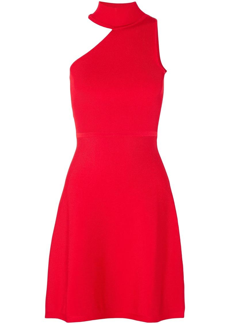 Cushnie Woman Vika One-shoulder Stretch-knit Mini Dress Red