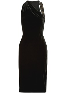 Cushnie Woman Willa Embellished Velvet Dress Black