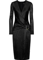 Cushnie Woman Wrap-effect Knitted Dress Black