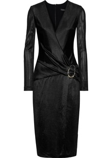 Cushnie Woman Wrap-effect Knitted Dress Black