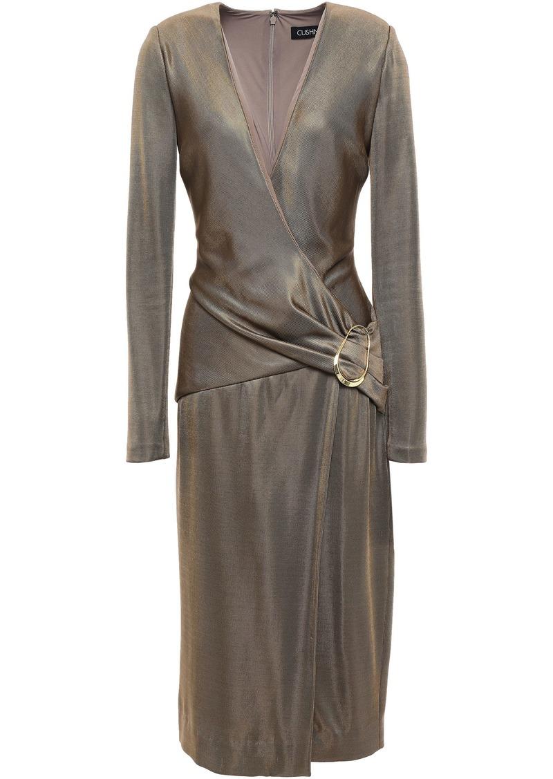 Cushnie Woman Wrap-effect Knitted Dress Brass