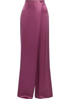 Cushnie Woman Draped Silk-satin Wide-leg Pants Magenta