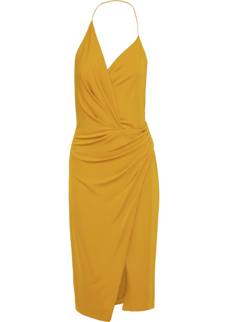 Cushnie Woman Wrap-effect Stretch-jersey Halterneck Dress Marigold