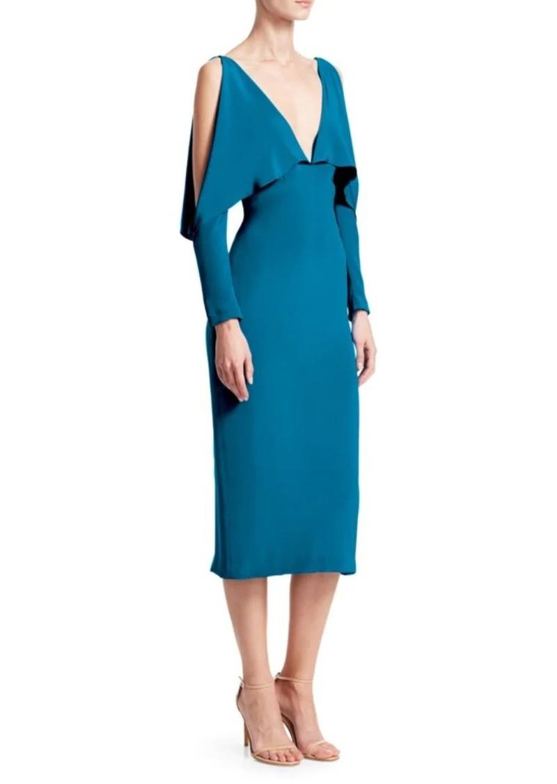Cushnie Deep-V Drape Detail Midi Dress