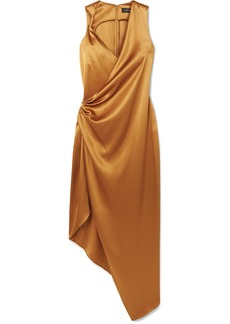 Cushnie Draped Asymmetric Silk-charmeuse Midi Dress