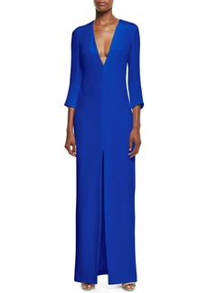 Cushnie Et Ochs 3/4-Sleeve V-Neck Gown w/Chain