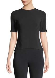 Cushnie Et Ochs Adia Short-Sleeve Open-Back Blouse with Ribbon Detail