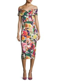 Cushnie Et Ochs Alba Off-the-Shoulder Floral-Print Fitted Cocktail Dress