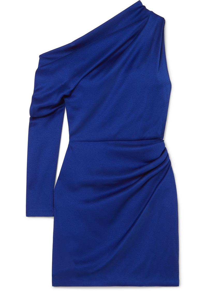 Cushnie Asymmetric Hammered-satin Mini Dress