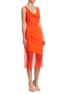 Cushnie Et Ochs Asymmetric Organza Midi Dress