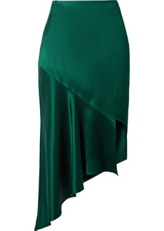 Cushnie Et Ochs Asymmetric Silk-satin Midi Skirt