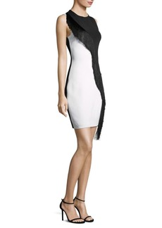 Cushnie Et Ochs Asymmetrical Fringe Sleeveless Mini Dress
