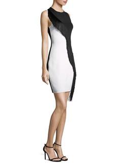 Cushnie Et Ochs Asymmetrical Fringe Sleeveless Mini Dress