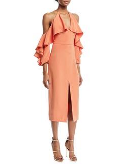 Cushnie Et Ochs Aura Ruffled-Frill Cold-Shoulder Halter Silk Crepe Cocktail Dress