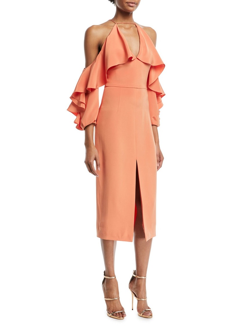 Cushnie Et Ochs Aura Ruffled-Frill Cold-Shoulder Halter Silk Crepe Cocktail Dress