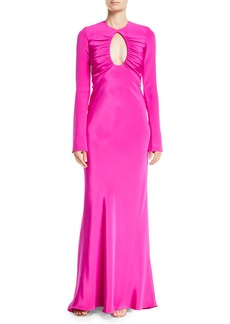 Cushnie Et Ochs Bell-Sleeve Circular-Opening Silk Crepe Evening Gown