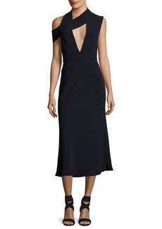 Cushnie Et Ochs Cecelia Cutout Cold-Shoulder Midi Cocktail Dress