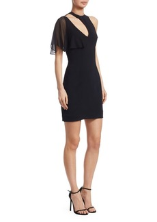 Cushnie Et Ochs Chiffon-Sleeve Cut-out Mini Dress