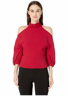 Cushnie Cold Shoulder Top with Billowing Sleeves and Drape