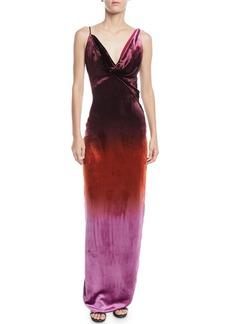 Cushnie Et Ochs Cowl-Neck Sleeveless Ombre Velvet Column Gown