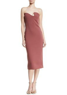 Cushnie Et Ochs CUSHNIE Asymmetric-Neck Strapless Fitted Neoprene Midi Cocktail Dress