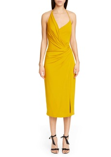 CUSHNIE Asymmetrical Halter Midi Dress