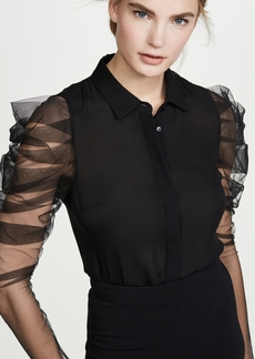 Cushnie Button Down Blouse with Pleated Sleeves