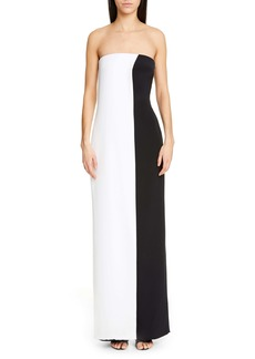 CUSHNIE Colorblock Strapless Wide Leg Silk Jumpsuit