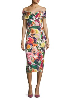 Cushnie Et Ochs Alba Off-the-Shoulder Floral-Print Fitted Cocktail Dress