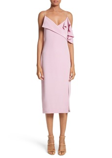 Cushnie et Ochs Asymmetrical Ruffle Silk Dress