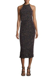 Cushnie Et Ochs Beaded Halter-Neck Midi Dress