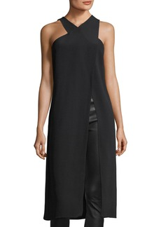 Cushnie Et Ochs Crossover High-Neck Sleeveless High-Slit Tunic Blouse