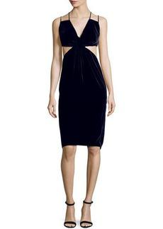 Cushnie Et Ochs Cutout Double-Strap Velvet Dress