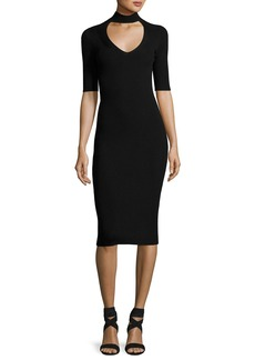 Cushnie Et Ochs Cutout Knit Midi Pencil Dress
