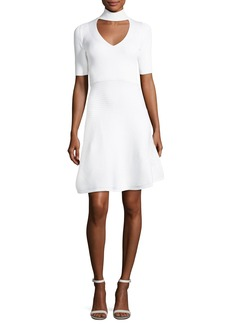 Cushnie Et Ochs Cutout Mock-Neck Mini Flare Dress