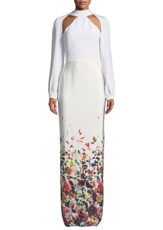 Cushnie Et Ochs Davina Long-Sleeve Cutouts Floral-Ombre Long Evening Gown