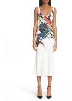 Cushnie et Ochs Devona Beaded Expressionist Print Dress