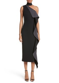 Cushnie et Ochs Elettra Ruffle Front Bonded Crepe Halter Dress