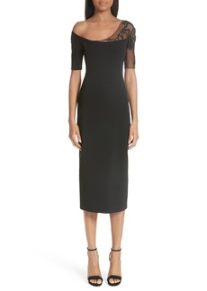 Cushnie et Ochs Embellished Mesh One-Shoulder Sheath Dress